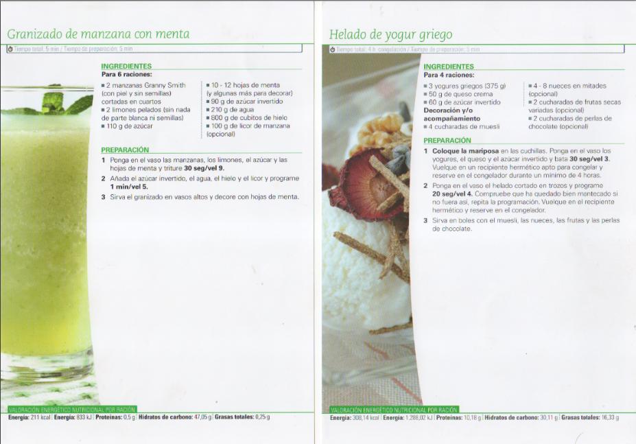 Helado de Yogurt y Granizado de manzana con menta
