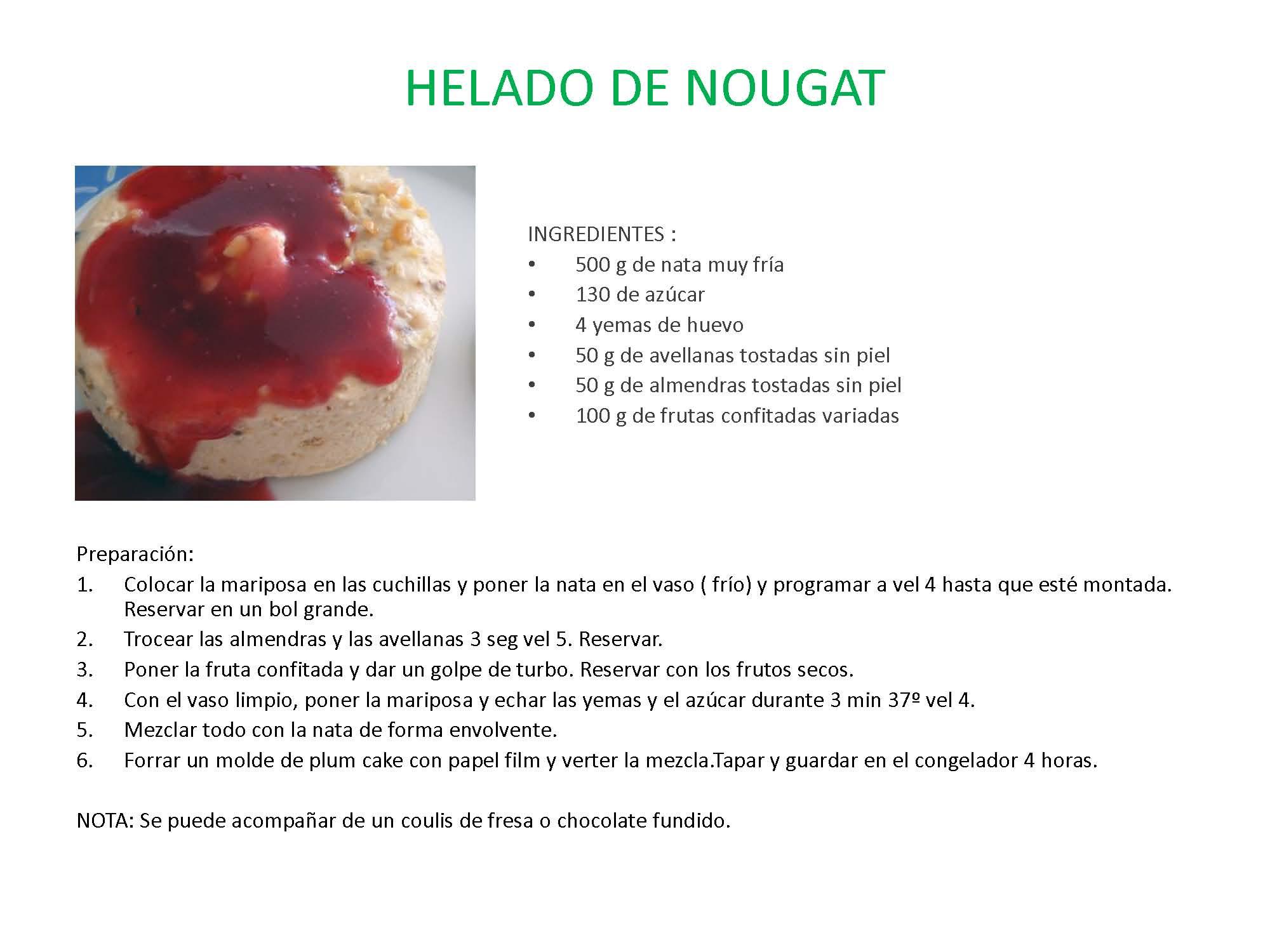 Recetas de la clase de Helados en la Delegación de Sabadell