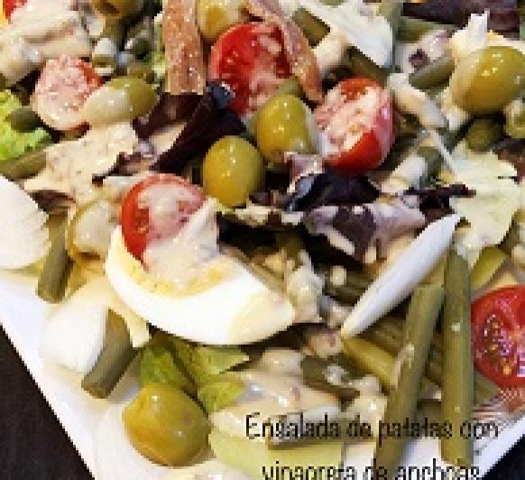 Ensalada de patatas con vinagreta de anchoas