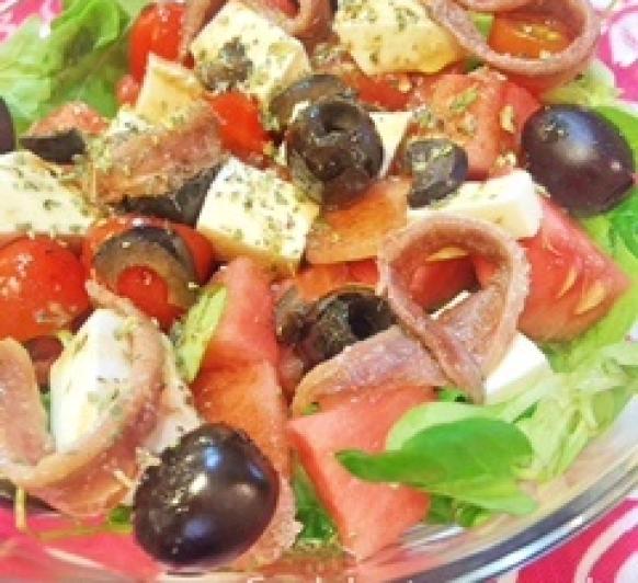 Ensalada griega con sandía