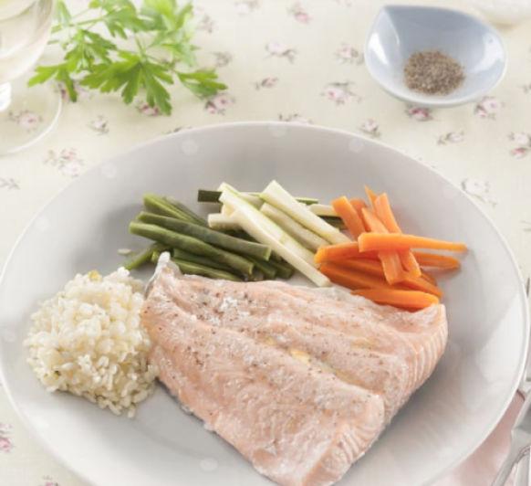 MENU: Crema de champiñones pescado con arroz y verdura