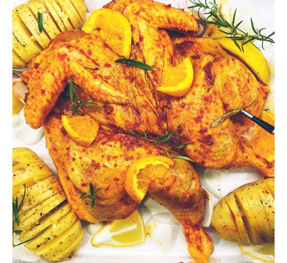Pollo con Mojo picón, naranja y miel con Thermomix® y MEATER
