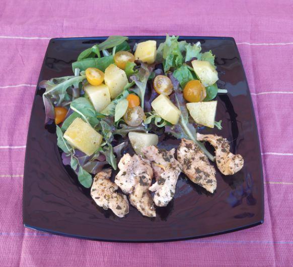 Pollo con ensalada templada de patata