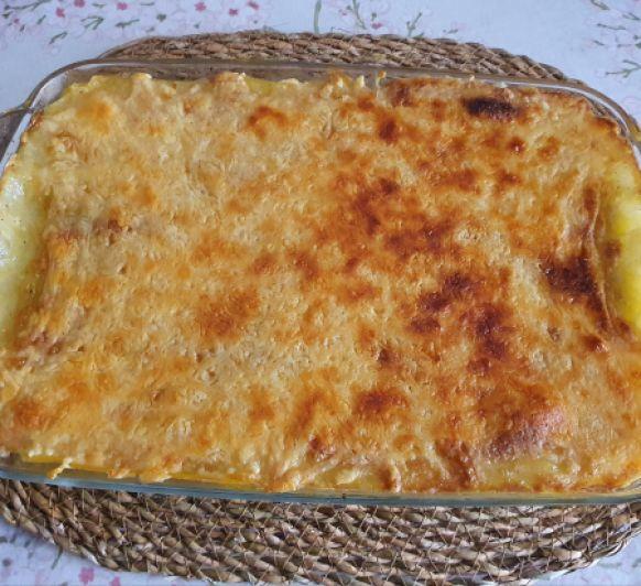 Lasaña de calabacín y champiñones con queso de cabra